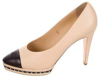 Chanel Leather Cap-Toe Pumps