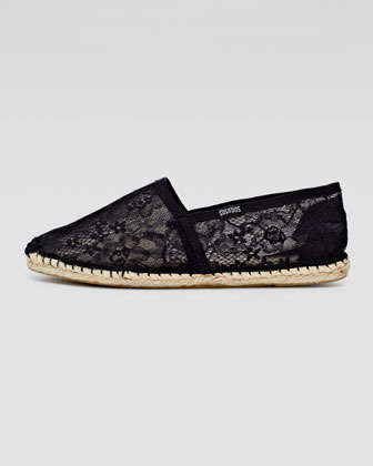 Soludos Lace Flat Espadrille Loafer, Black