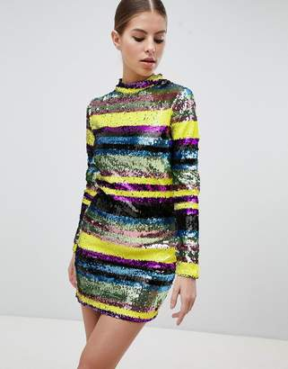 Club L Long Sleeve Rainbow Sequin Mini Bodycon Dress