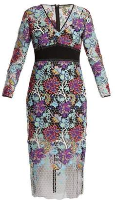 Diane von Furstenberg V Neck Floral Lace Dress - Womens - Blue Multi