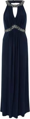 Next Womens Monsoon Navy Isabeli Embellished Jersey Maxi Dress