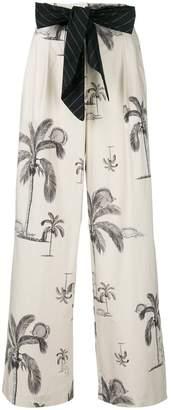 Odeeh palm tree print trousers