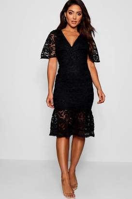 boohoo Lace Cape Sleeve Frill Hem Midi Dress