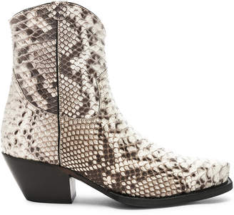 R 13 Snakeskin Embossed Cowboy Ankle Boots