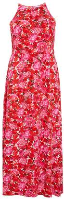 Quiz Curve Pink And Red Floral High Neck Chiffon Maxi Dress