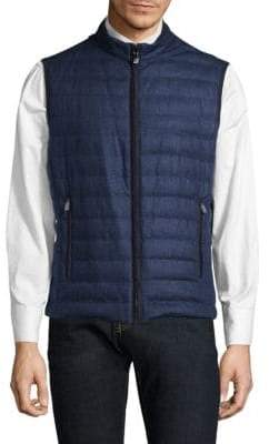Corneliani Reversible Prince Of Wales Quilted Silk Vest