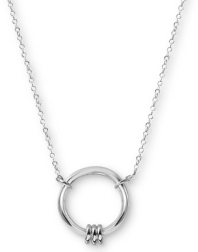 "Argentovivo Circle Pendant Necklace in Sterling Silver, 16"" + 2"" extender"