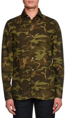 Tom Ford Camouflage-Print Sport Shirt, Dark Green
