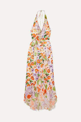 Alice + Olivia (アリス オリビア) - Alice + Olivia - Evelia Ruffled Floral-print Georgette Dress - Orange