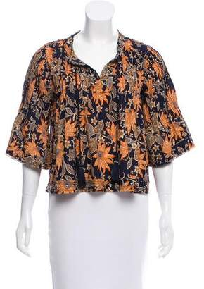 Tularosa Floral Print Pleated Top