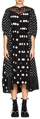 Marc Jacobs Women's Lace-Trimmed Polka Dot Silk Midi-Dress
