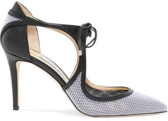 Jimmy Choo Vanessa 85 Cutout Leather And Mesh Pumps - White