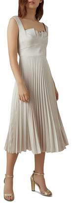 Karen Millen Pleated Satin Midi Dress