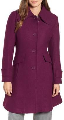 Halogen Boiled Wool Blend Fit & Flare Coat (Regular & Petite)