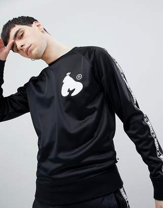 Money Stripe Tricot Crew Neck In Black With Contrast Side Stripe And Back Print
