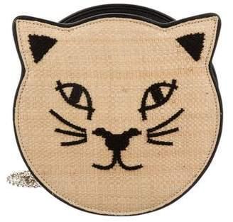 Charlotte Olympia Pussycat Raffia Crossbody Bag