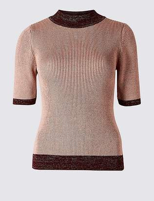 Marks and Spencer Sparkly Funnel Neck Half Sleeve Jumper