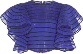Maison Rabih Kayrouz Striped Silk Muslin Crop Top