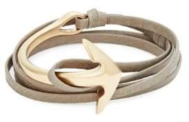 Miansai Goldplated Anchor Half-Cuff Leather Bracelet