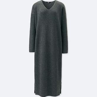 Uniqlo Women's Ribbed V-Neck Long-sleeve Knit Dress