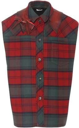 Miu Miu Leather-trimmed tartan jacket