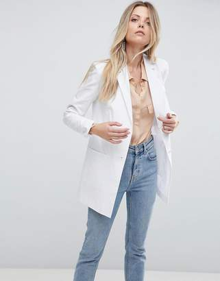 Asos DESIGN Tailored Linen Longline Relaxed Blazer