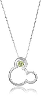 """Disney Sterling Open Mickey Mouse Image with Genuine Peridot-August Birthstone Pendant Necklace, 18"""""""