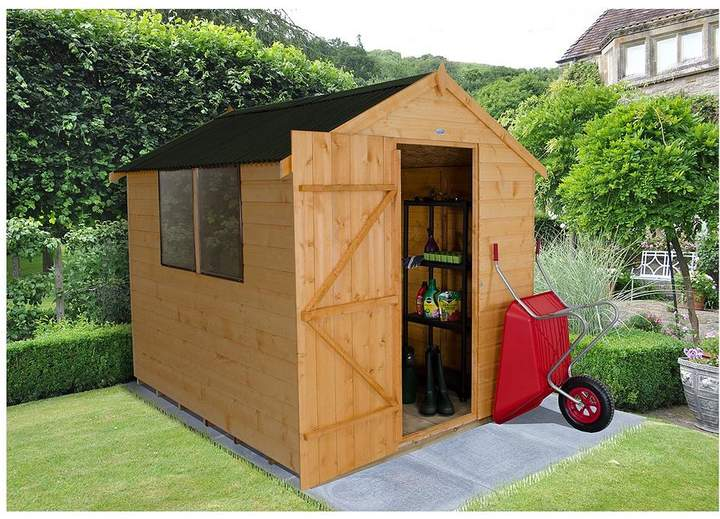 FOREST 8 X 6ft Apex Corrugated Roof Shiplap Shed With Base And Assembly