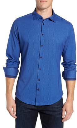 Stone Rose Trim Fit Honeycomb Print Knit Sport Shirt