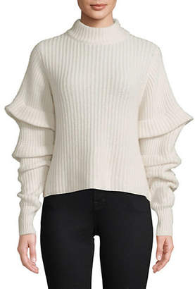 Autumn Cashmere Tiered-Sleeve Cropped Sweater