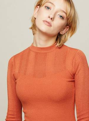 Miss Selfridge Orange pointelle crew neck rib knitted top