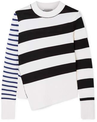 Jason Wu GREY - Asymmetric Striped Merino Wool Sweater - Ivory