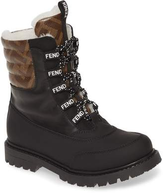 Fendi Double F Logo Lace-Up Boot with Faux Fur Lining