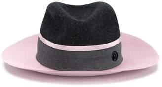 Maison Michel Charcoal Pink Two Tone Henrietta Fedora Hat