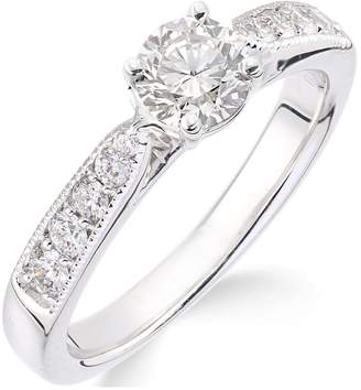 Love GOLD 18ct white gold millgrain edge 70 point diamond ring with diamond set shoulders