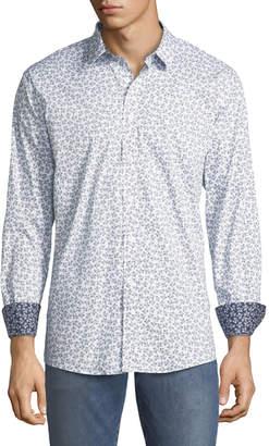 Duchamp Men's Ivy-Pattern Poplin Sport Shirt