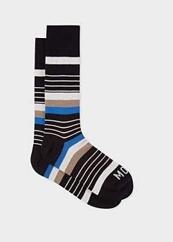 Paul Smith R.E.M. + Men's Black Stripe 'Moon Kitten' Socks