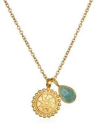Satya Jewelry Womens Mandala Aquamarine Birthstone Pendant Necklace 16-Inch +2-Inch Extension