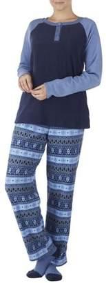 Secret Treasures Women's Fleece Henley pajama top with pant and sock 3Piece Giftable sleepwear set