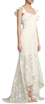 Zander Lace Flutter-Sleeve Gown