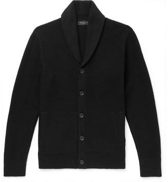 Rag & Bone Cardiff Shawl-Collar Textured-Knit Wool and Cotton-Blend Cardigan - Men - Black