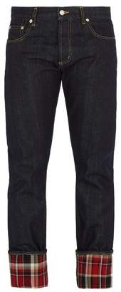Alexander McQueen Checked Straight Leg Jeans - Mens - Denim