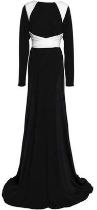 Vionnet Two-Tone Crepe De Chine And Stretch-Jersey Gown