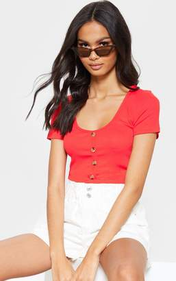 PrettyLittleThing Red Scoop Neck Button Front Short Sleeve Top