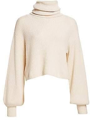 The Kooples Women's Ribbed Balloon-Sleeve Turtleneck Sweater