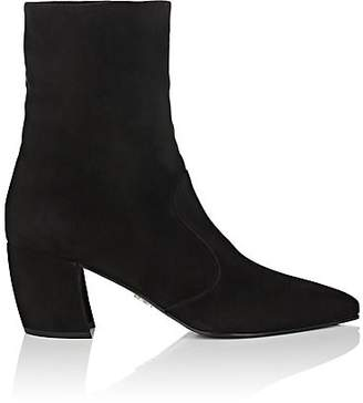 Prada Women's Curved-Heel Suede Ankle Boots - Nero