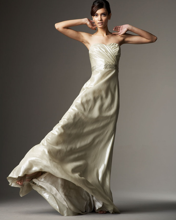 Carmen Marc Valvo Beaded Strapless Gown