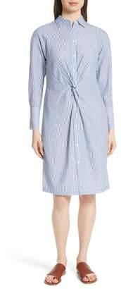 Vince Classic Stripe Twist Cotton Blend Shirt Dress
