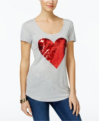 INC International Concepts Reversible Sequined Heart Graphic T-Shirt, Only at Macy's $59.50 thestylecure.com