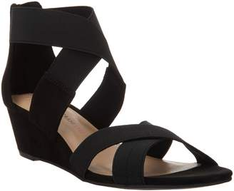 Isaac Mizrahi Live! Double Strap Wedge Open Toe Sandal
